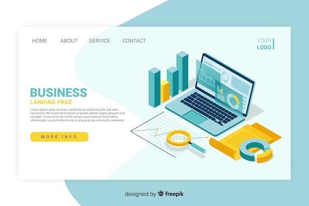 Design isométrico de página de destino de negócios