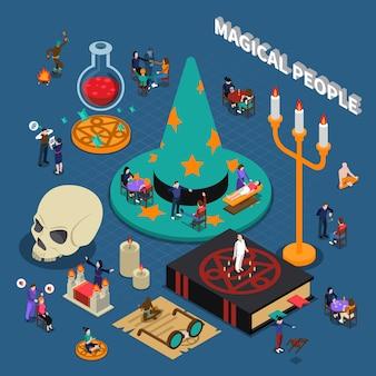 Design isométrico de pessoas mágicas