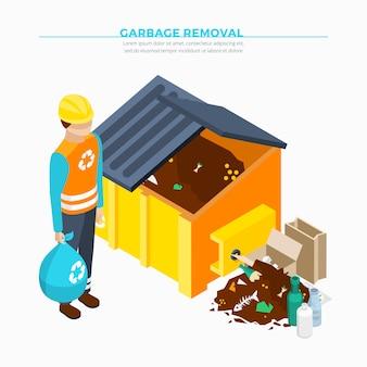 Design isométrico de remoção de lixo