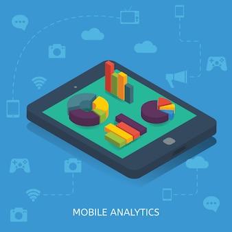 Design isométrico do mobile analytics