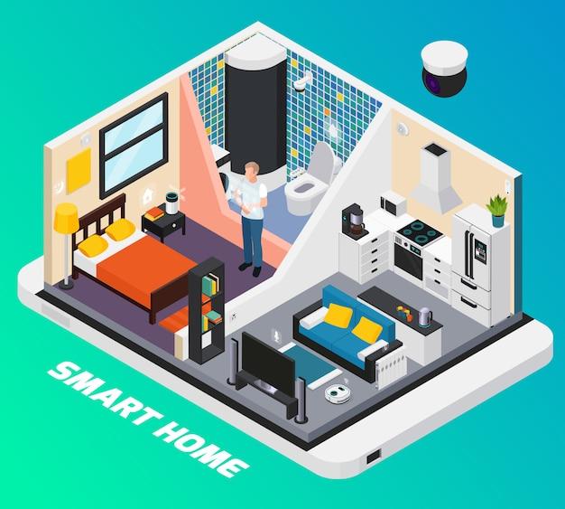 Design isométrico interior casa inteligente com sistema de luz fogão tv controlado com ilustração de dispositivos móveis wearable