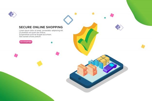 Design isométrico seguro compras on-line