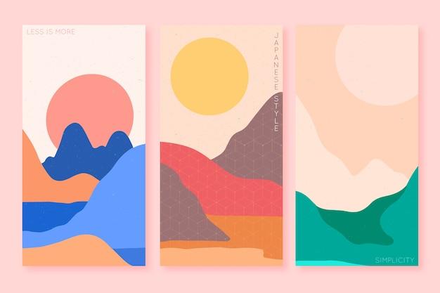 Design japonês minimalista da coleção de capas