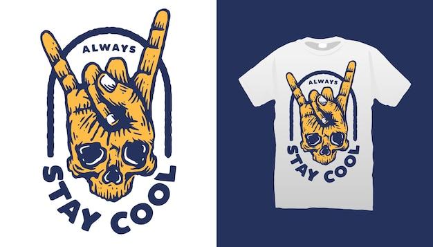 Design legal de camiseta com ilustração de crânio