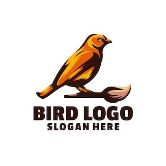 Design legal de pássaro amarelo com pincel de pintura
