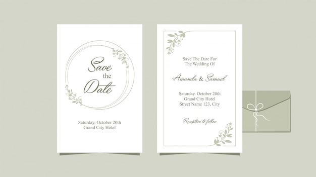 Design limpo de convite de casamento
