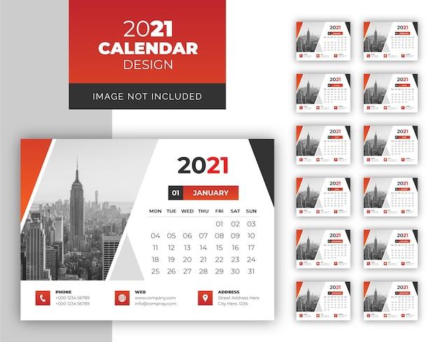 Design limpo e minimalista do calendário de mesa