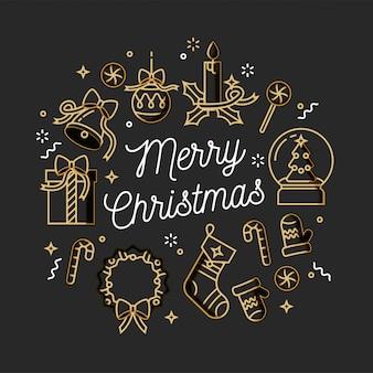 Design linear cartão de cumprimentos de natal em fundo branco. tipografia ang ícone para o fundo de natal, banners ou cartazes e outros imprimíveis.