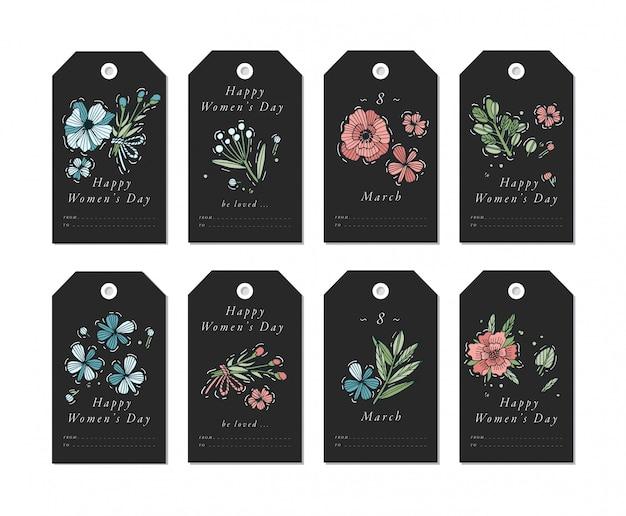 Design linear para elementos de saudações de dia das mulheres em fundo branco. tags de férias de primavera conjunto com tipografia e ícone colorido.