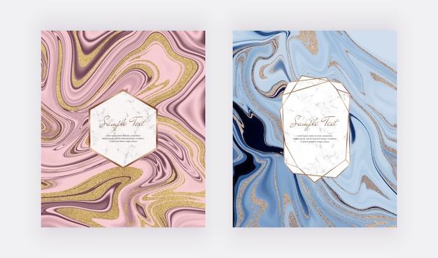 Design líquido de tinta azul, rosa dourado glitter com moldura de mármore.