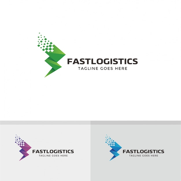 Design logistico logístico rápido. entrega, fast, arrow logo