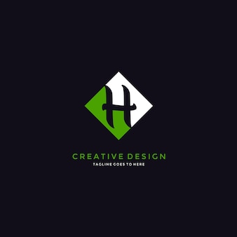 Design logo letter h inside shape