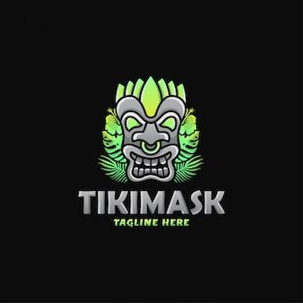 Design logotipo colorido máscara tiki ilustração vetorial