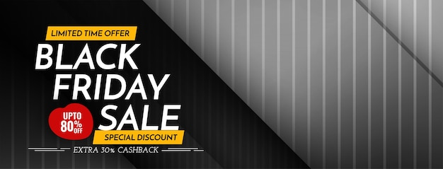 Design lustroso e elegante de banner de venda na sexta feira negra