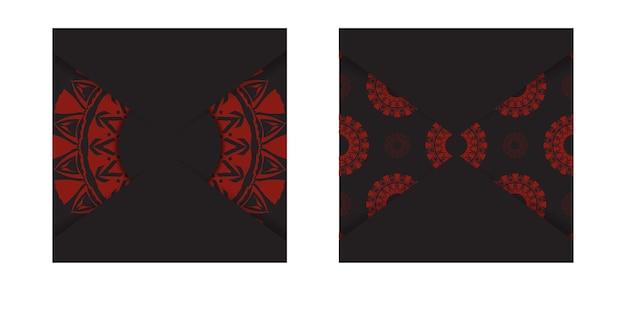 Design luxuoso de cartão postal pronto para imprimir em preto com padrões gregos em vermelho. modelo de cartão de convite de vetor com lugar para o seu texto e ornamento abstrato.