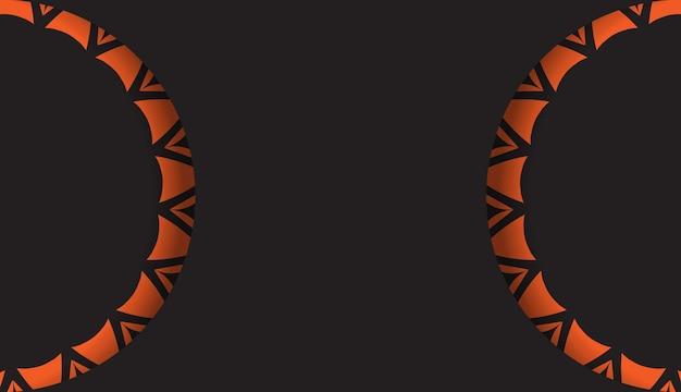 Design luxuoso de um cartão postal em preto com enfeites laranja. cartão de convite de vetor com lugar para o seu texto e padrões abstratos.