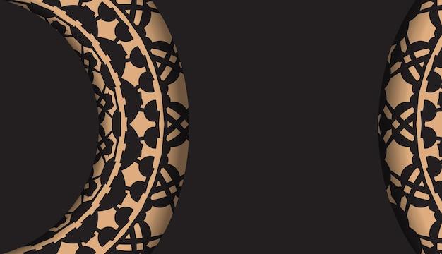 Design luxuoso de um cartão postal em preto com ornamentos gregos. cartão de convite de vetor com lugar para o seu texto e padrões vintage.
