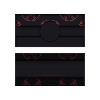Design luxuoso de um cartão postal na cor preta com uma máscara dos padrões dos deuses. cartão de convite de vetor com um lugar para o seu texto e um rosto em um ornamento de estilo polizenian.