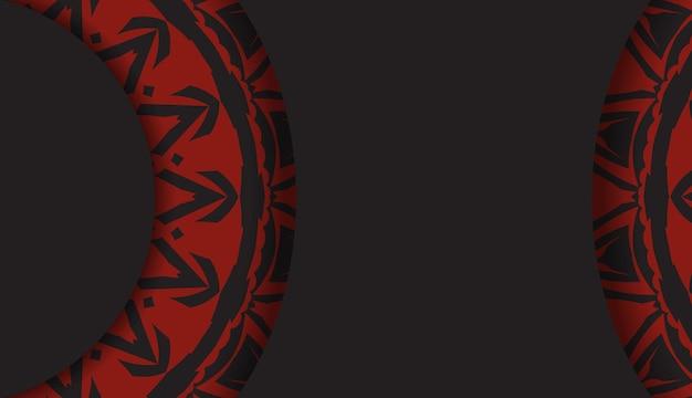 Design luxuoso de um postal na cor preta com um ornamento grego vermelho. cartão de convite de vetor com lugar para o seu texto e padrões abstratos.