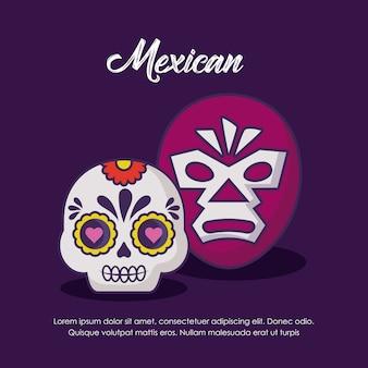 Design mexicano com máscara de wrestling e crânio de açúcar