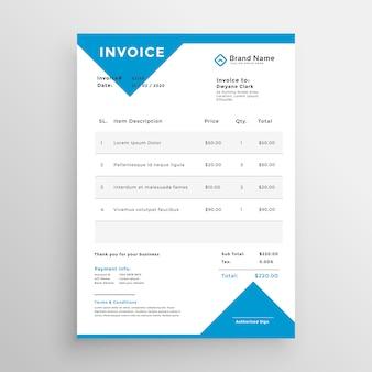Design minimalista azul modelo de fatura