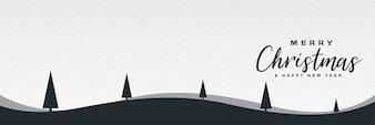 Design minimalista da bandeira da cena da paisagem do inverno do Natal