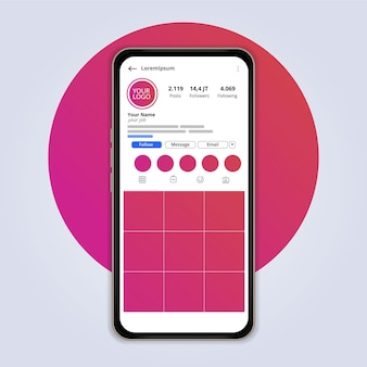 Design minimalista da interface do perfil instagram