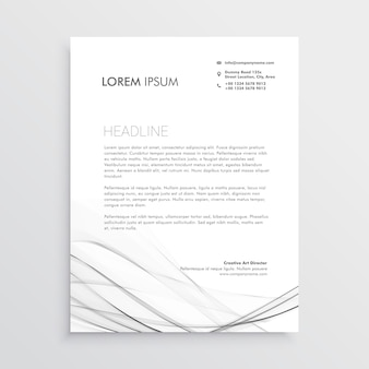 Design minimalista de cabeçalho com forma ondulada cinza