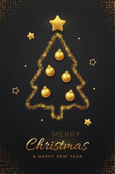 Design minimalista de cartão de natal com árvore de natal dourada abstrata, bugiganga de bolas e estrelas douradas.