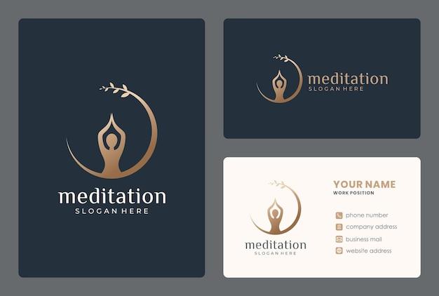 Design minimalista de logotipo de meditação com cartão de visita