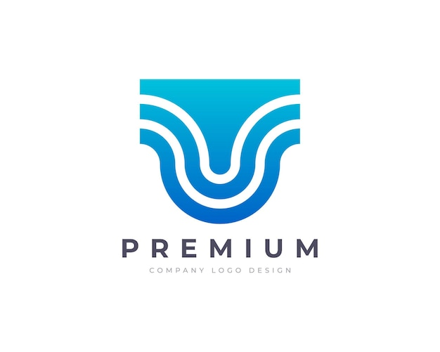 Design minimalista de logotipo em letra u