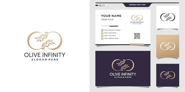 Design minimalista de logotipo verde-oliva com infinito. logotipo do ícone de beleza e design de cartão de visita