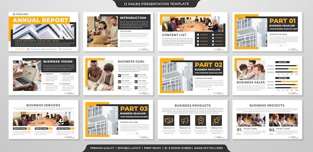 Design minimalista de modelo de apresentação de negócios