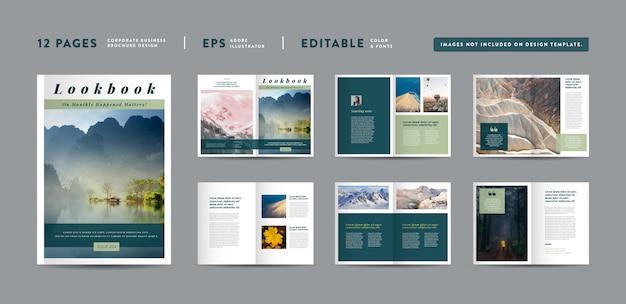 Design minimalista de revistas de natureza paisagem | layout do lookbook editorial | portfólio de moda e multiuso | photo book design
