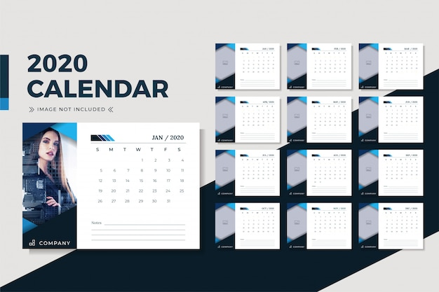 Design minimalista do calendário de mesa de negócios 2020
