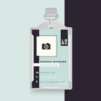 Design minimalista do cartão de identificação comercial