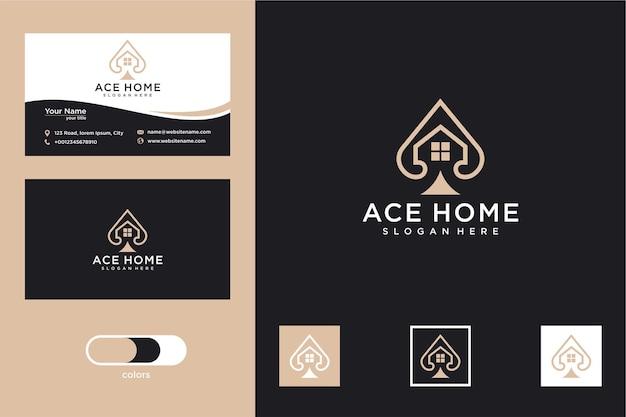 Design minimalista do logotipo da casa ace e cartão de visita