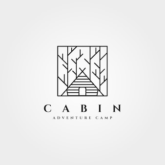 Design minimalista do logotipo da floresta da cabana