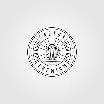 Design minimalista do logotipo do cacto com arte de linha
