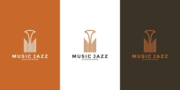 Design minimalista do logotipo do jazz da música para o seu músico ou amantes da música ou negócios etc. Vetor Premium