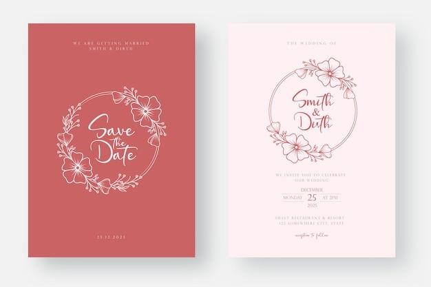 Design minimalista do modelo do cartão de convite de casamento em estilo de arte