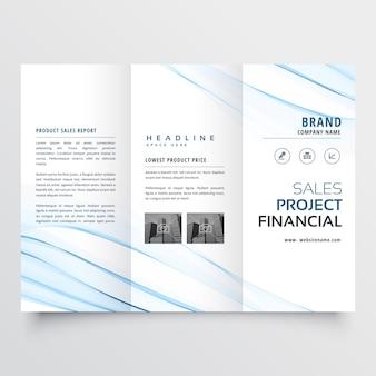 Design minimalista limpo com três dobras brochura insecto folheto com onda azul