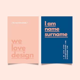 Design minimalista para cartão de visita