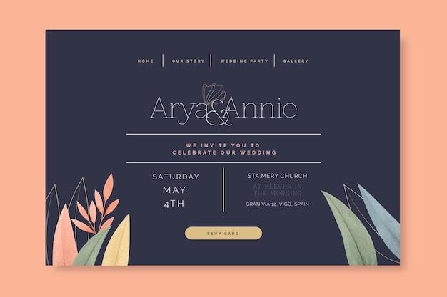 Design mínimo da página de destino do casamento