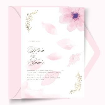 Design mínimo de cartão de casamento com modelo de flor