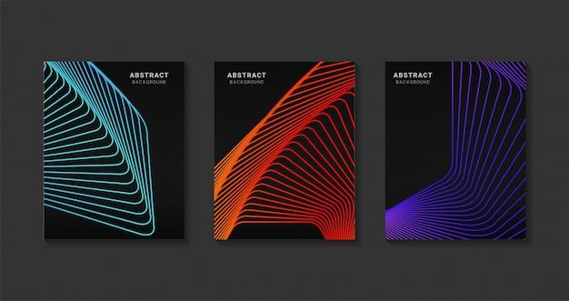 Design moderno abstrato capas. arte futurista linha gradientes de meio-tom. projeto moderno modelo de plano de fundo para a web. futuros padrões geométricos.