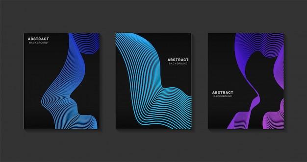 Design moderno abstrato capas. arte futurista linha gradients.background modelo moderno de design para web. futuros padrões geométricos.