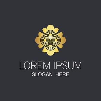 Design moderno abstrato luxuoso logotipo com cor dourada.
