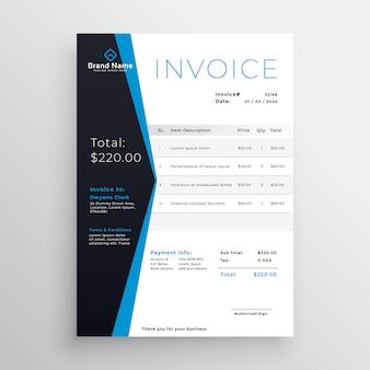 Design moderno azul modelo de factura