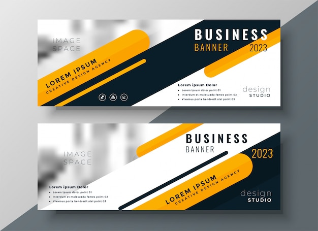 Design moderno banner de negócios amarelo